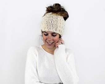 Messy Bun Hat, Ponytail Hat, Knit Bun Hat, Pony tail Headband, Running Hat- Piscataway Ponytail Hat