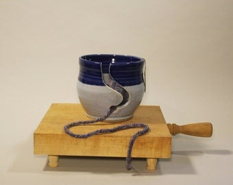 Large Blue Yarn Bowl