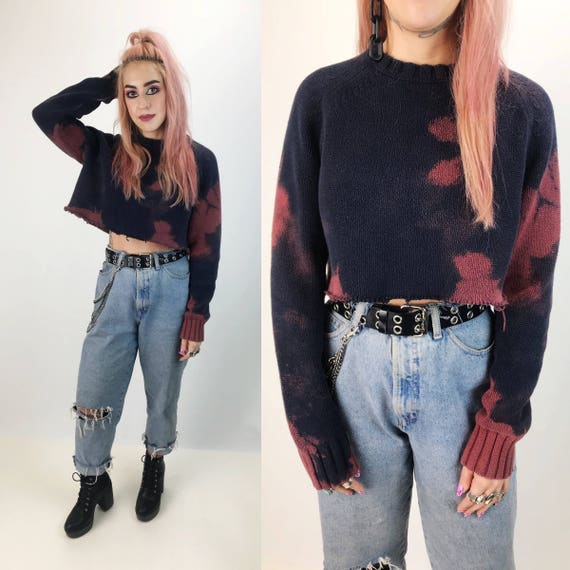 Cropped Frayed Tie Dye Grunge Pullover Knit Medium - Navy Blue Pink Purple Bleached Cropped Jumper - Fraying Baggy Long Sleeve Crop Jumper