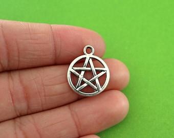 6 Silver Pentagram Charms (CH008)