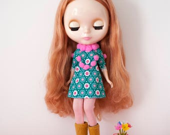 retro kitsch pom pom Blythe doll dress / POMPOMILICIOUS C