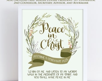LDS Young Women Theme 2018, Mutual Theme 2018, Doctrine and Covenants 19:23, Peace in Christ, Wreath Floral Watercolor, Printable 2