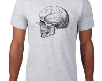 Anatomical Skull Tshirt, Anatomy T Shirt, Horror Tee, Vintage Medical Illustration, Ringspun Cotton, Mens Plus Size