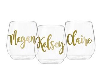 PLASTIC Personalized Wine Glasses, Plastic Wine Glass, Wine Glasses Personalized, Wine Glasses Bachelorette Party, Bridesmaid Wine Glass