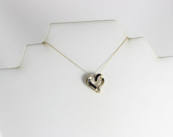 10k Yellow Gold Natural Blue Sapphire and Diamond Heart Necklace