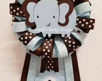 Baby Blue Baby Elephant Mommy-To-Be Corsage, Baby Shower Corsage, Mommy-To-Be Corsage