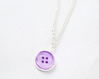 Purple Necklace - Purple Jewelry - Button Necklace - Button Charm - Minimalist Necklace - Cute Necklace - Button Jewelery - Purple Pendant
