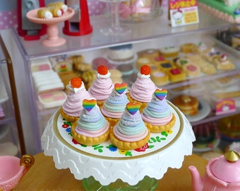 Dollhouse 1:6 scale Dolls Food Miniature Japanese French Mont Blan Rainbow, Strawberry, handmade by Nadia Michaux
