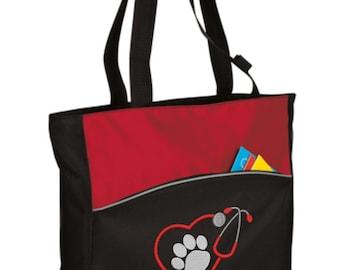 Personalized Vet Tote Bag/ Vet Tech Tote Bag/ Embroidered Vet Bag/ Embroidered Vet Tech Tote Bag/ Vet Gift/ Vet Tote Bag/ Paw Print Tote Bag