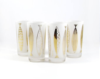 Mid-Century Fred Press Fish Glasses,White Gold Mod Barware, Vintage Hollywood Regency Tumblers
