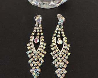 Crystal Earrings, Aurora Borealis Earrings, Dangling Earrings
