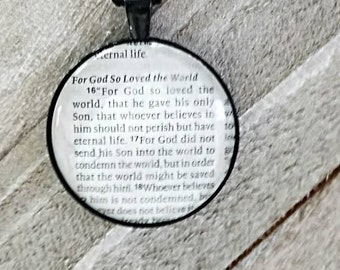John 3:16/Vintage Necklace Pendant/Gift for Her/Gift for mom/Gift for Wife/Christian Jewelry/Vintage Jewelry/Custom Jewelry
