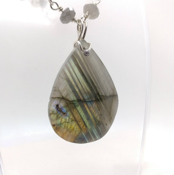Healing Labradorite Necklace | Removable Rainbow Labradorite Pendant | Sterling Silver | Gift for Girlfriend | Gift for Wife