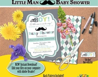 Little man Baby Shower Invitation-Edit Files yourself Instantly-Mustache Baby shower Invite-Little Gentleman-DIY Editable Invitation-B-106-2