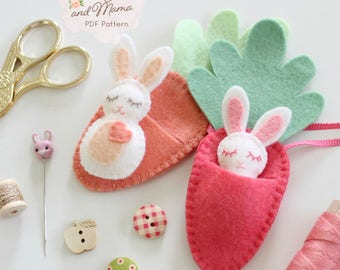 FELT BUNNY PDF Pattern - 'Bitty Bunnies' Easter pattern; mini rabbit with felt carrot sleeping bag, necklace, embroidery, sewing
