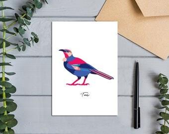 Native Birds of Aotearoa, New Zealand Tui Bird, Modern, Designer Greeting Card