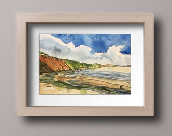Original watercolour landscape, Seascape art decor, Wall decor seascapes, Wall decor seascape, Beach art painting, Coastal wall art