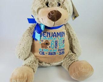 Benjamin Bear Personalized Stuffed Animal  Classic Edition Embroider Buddy Birth Announcement Bear