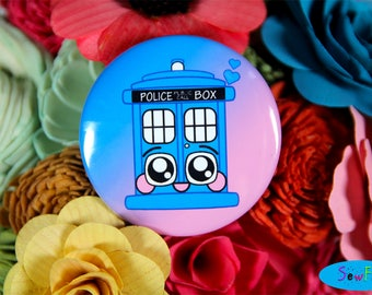 "NEW TARDIS Button Pin | Doctor Who Pin | 2.25"" Button Badge 