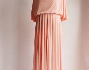 Vintage Grecian Gown, 70s Pink Dress