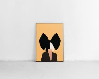 Sia Poster. Sia Bow Poster. Minimal Poster. Print.