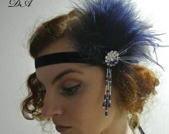 1920s  Gatsby Headband  Navy Blue Silver 20's Headpiece Black Flapper  Headband  Prom Headband Ivory  Prom Headpiece 1920s Headpiece