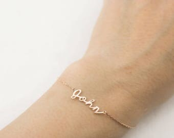 Personalized name bracelet, Solid 14k gold custom script bracelet, personalized gold jewelry 14k solid gold, rose gold, white gold, scr-b101