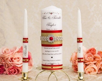 Gold Wedding Unity Candles Set, Red and Gold Wedding Candles, Personalized Wedding Candles Set, Red And Gold Candles, Wedding Gift