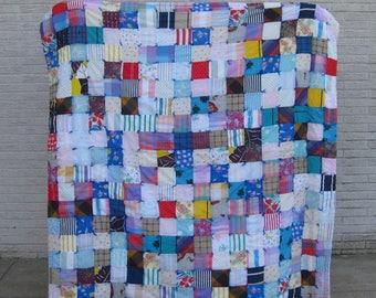 Vintage TWIN/ FULL Size Scrap Patchwork Granny Quilt Bedspread, Multicolored Plaid & Floral Scrap Quilt, Boho Bedding,Bohemian Beach Blanket