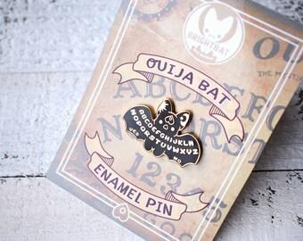 Ouija Bat Enamel Pin - ( Cute goth gold black ouija halloween pins )