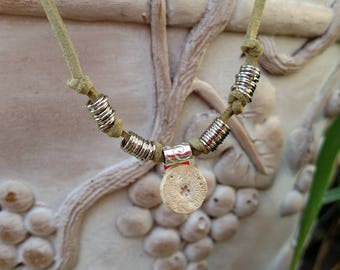 Necklace - Fossil on Olive Leather Cord