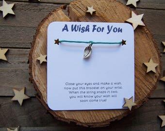 Silver Leaf Wish Bracelet, Gold Wish Bracelet, Leaf Friendship Bracelet, Leaf Jewelry, Leaf Charm Bracelet, Cord Bracelet, Bridesmaid Gift