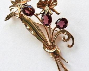 Art Nouveau Sterling Iris Brooch