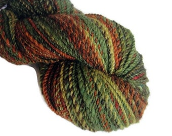 Hand dyed and hand spun two ply bulky yarn,