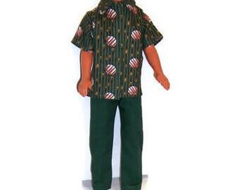His Doll Clothes-Green Print Short Sleeeve Shirt & Dark Green Pants
