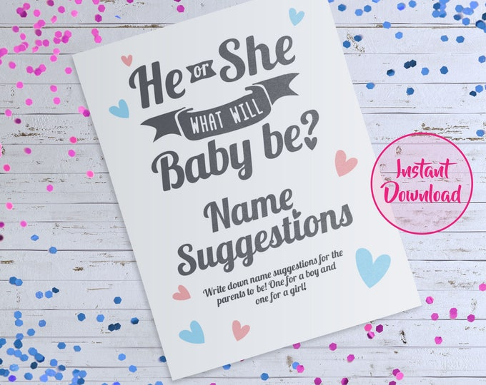 He or She What Will Baby Be Sign, Name Suggestion Card Game, He or She Sign, Gender Reveal Ideas, Gender Reveal Party Game, Baby Name Game