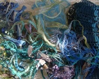 Sea glass  fiber art yarn bundle/20 TYPES/specialty yarn bundle/embellisment trim /20 yds.mixed trim/novelty yarn/textile art pack/weaving