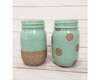 Set of 2 Mint and Champagne Mason Jars