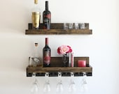 "24"" Rustic Wood Wine Rack | Shelf & Hanging Stemware Glass Holder Organizer | Bar Shelf"