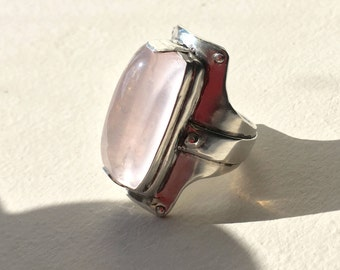 Rose Quartz Armour ring in Sterling silver / Size US 8.25 / One of a Kind, Made in Australia / Ready to ship