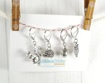Woodland Critters Progress Keeper Set of 4, Knitting Stitch Markers, Progress Markers with 6mm lever back PK0008