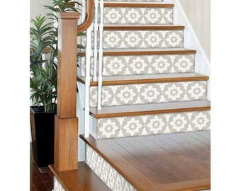"Stair Riser Stickers - Removable Stair Riser Vinyl Decals - Campagne Pack of 6 in Sand - Peel & Stick Stair Riser Deco Strips - 48"" long"