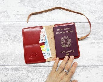 Passport Cover - DEEP RED Leather Travel Passport - Personalized Wallet - Passport Holder - Leather Travel Passport - Leather Passport