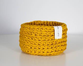 Multipurpose Crochet Basket . Royal Yellow | Crochet Basket | Bowl | Yarn Basket | Crochet Bowl | Basket | Handmade | Crochet Storage