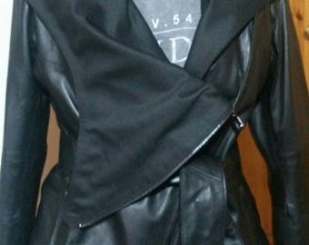 New!Natural Real  Modern Hooded Black Leather Jacket!