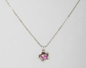 Flower Necklace, Floral, Gold Necklece, Plumeria Necklace, Garnet Gemstone, Flower Necklace Garnet Gemstone, Bridal gift, Gift for her