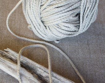 Gray braided linen flax rope Natural linen cord 5 yards DIY craft projects Sewing supplies Pure linen string Macrame cord Gift wraper