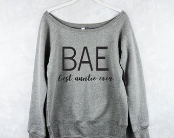 BAE Best Auntie Ever - Slouchy Sweater - Off Shoulder Long Sleeve - Workout Tank Top - Fitness Tank Top - Gym Shirt - Cute Sweater