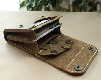 Leather wallet Small wallet credit card wallet womens wallet mens wallet card wallet leather coin purse handmade card wallet Ligth Olive