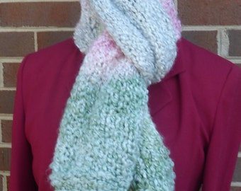 Handmade knit straight chunky scarf with green, pink, light gray, and white stripes. Free domestic USPS priority shipping!!